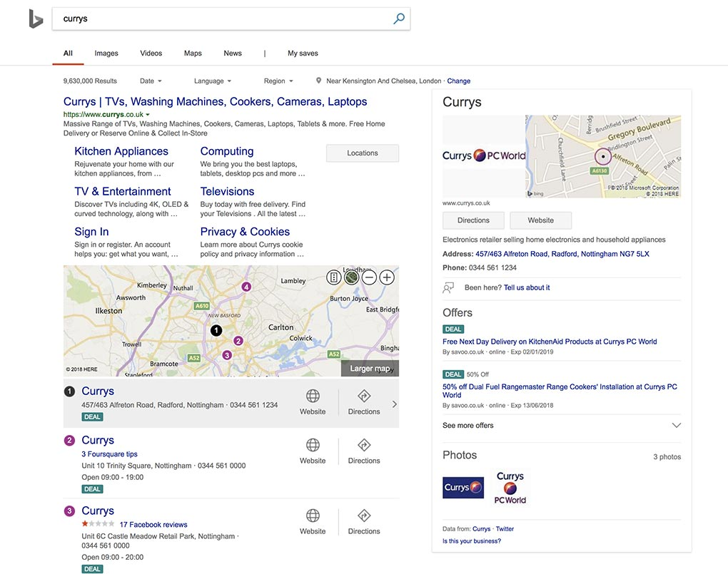 Bing Places Deals in SERP