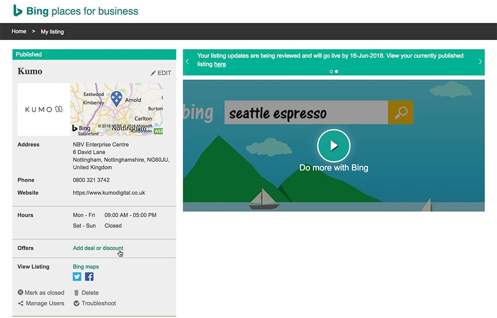 Bing Places for Business Edit Listing