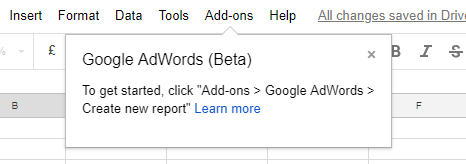 create new report adwords google sheets