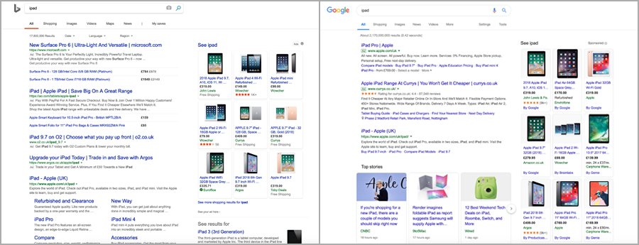 Bing & Google SERPs