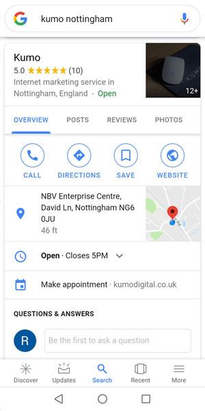 google knowledge panel on mobile