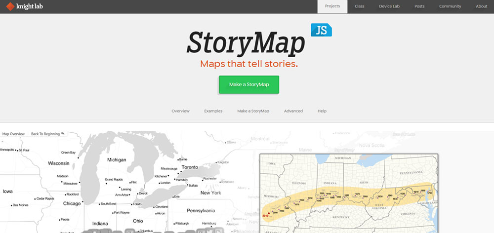 storymap js interface