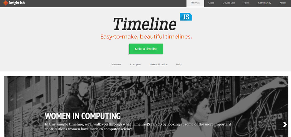 timeline js interface